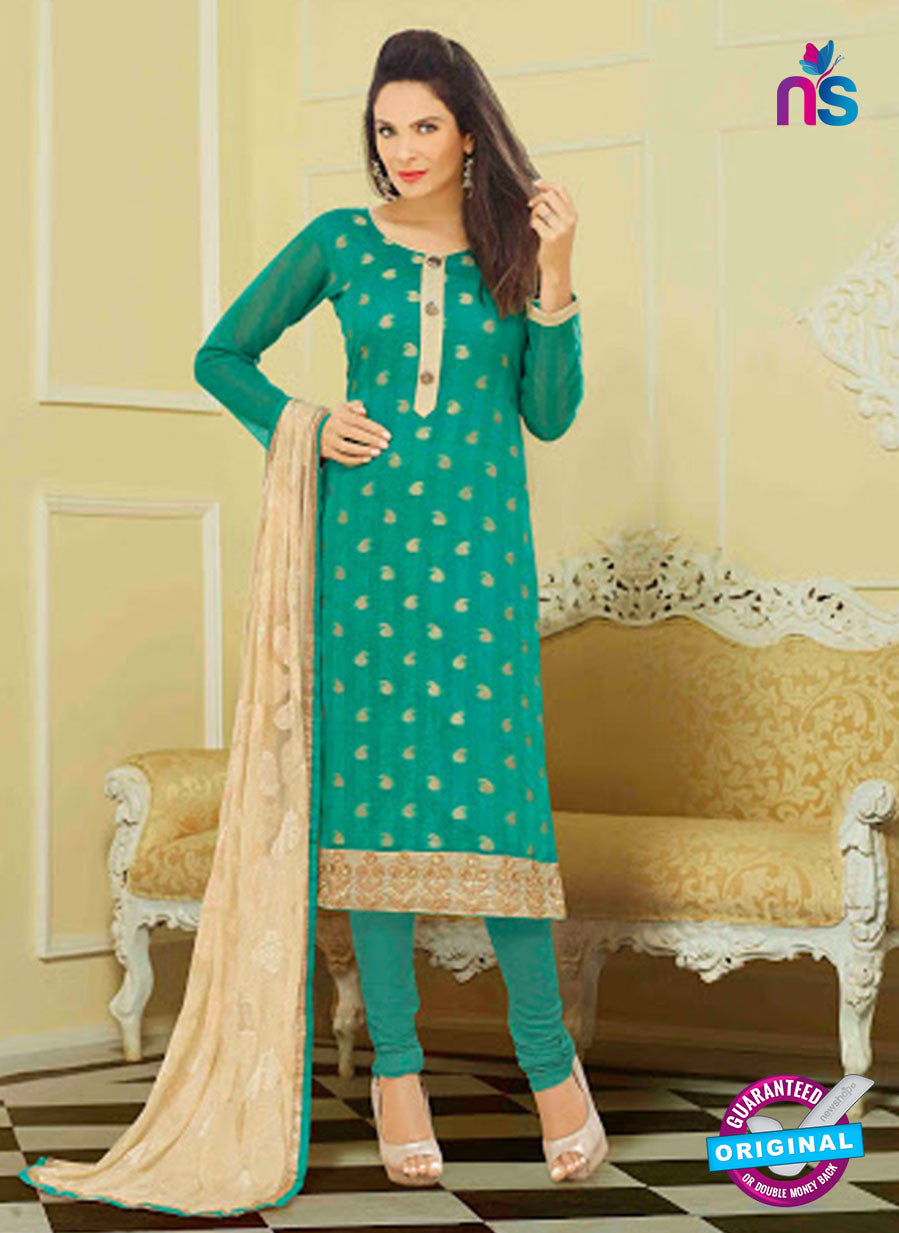 NS11003 Sea Green and Beige Designer Chanderi Straight Suit