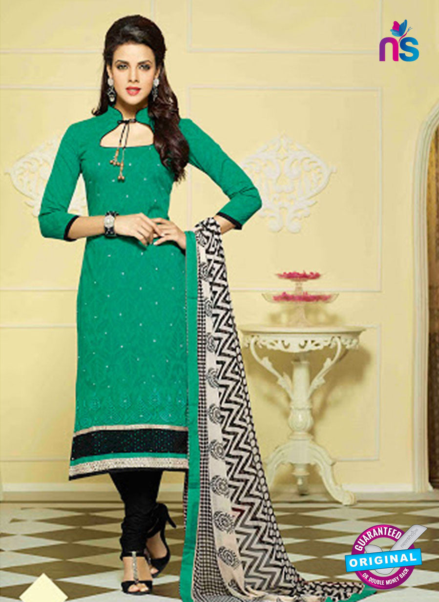 NS11004 Sea Green and Black Designer Chanderi Straight Suit