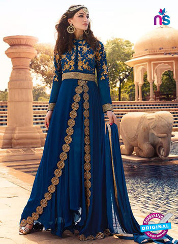 Glossy 7102 Blue Georgette Party Wear Suit