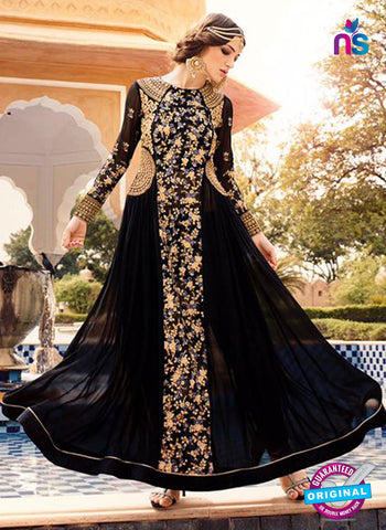 Glossy 7104 Black Georgette Anarkali Suit