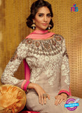 Kimora 710 Beige and Pink Georgette Party Wear Anarkali Suit