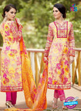 SC 13247 Yellow and Pink Printed Pure Lawn Straight Pakistani Suit