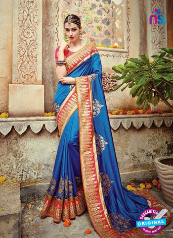 AZ 5004 Blue Georgette Wedding Saree