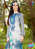 SC 13245 White and Blue Printed Pure Lawn Straight Pakistani Suit