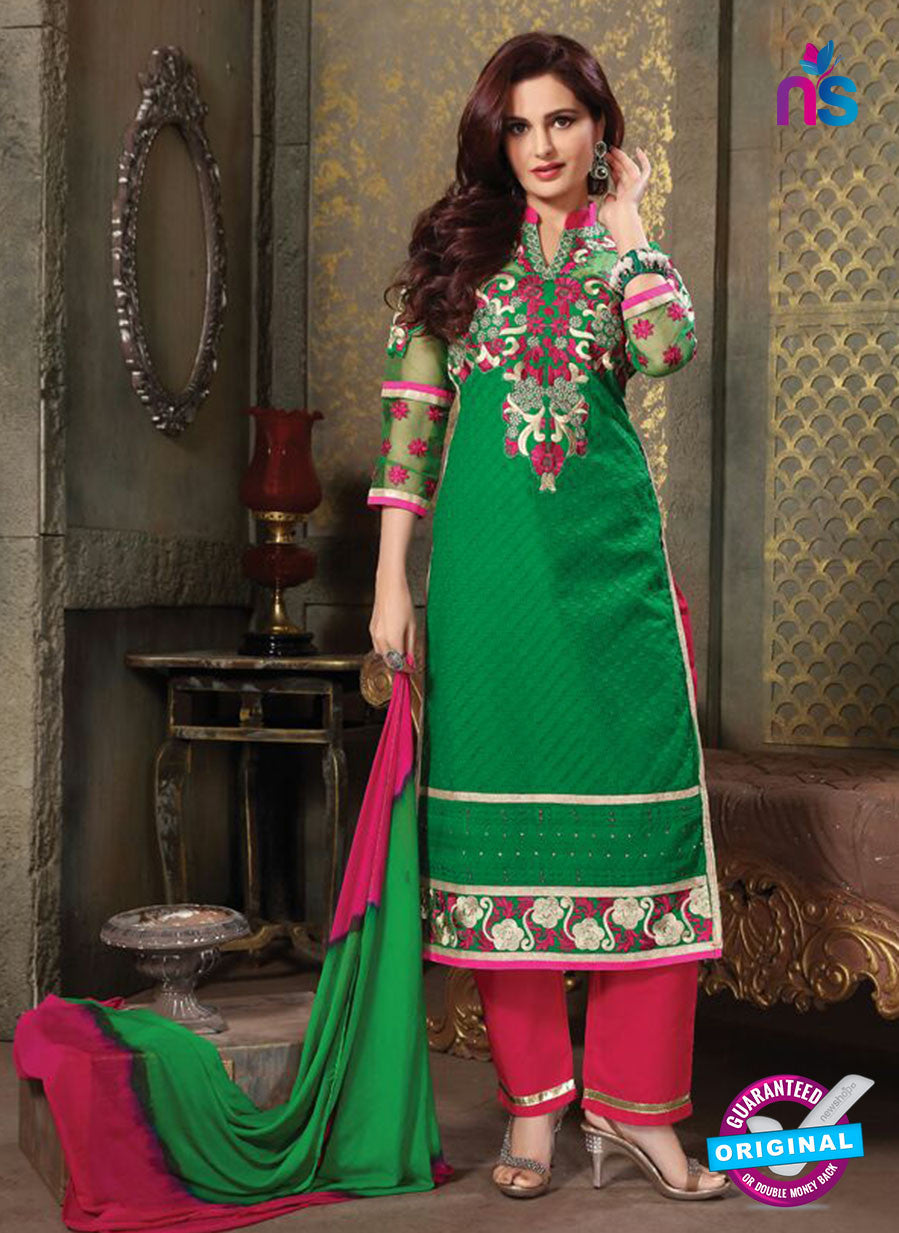 NS11232 Green and DeepPink Pure Cotton Long Straight Suit