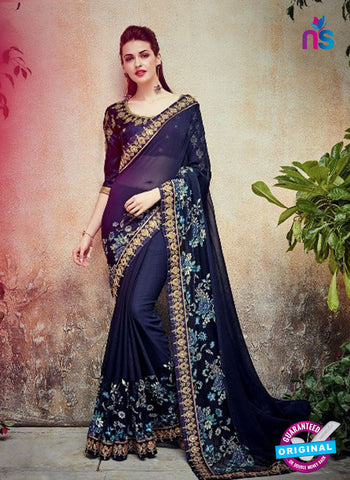 AZ 5006 Blue Georgette Wedding Saree