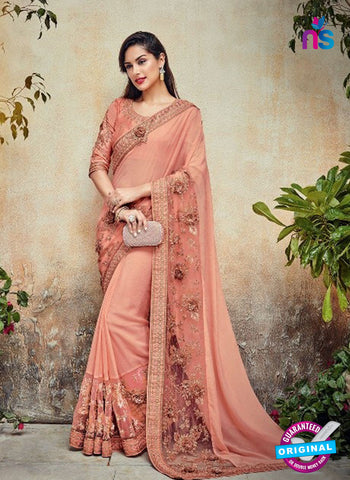 AZ 5007 Peach Georgette Wedding Saree