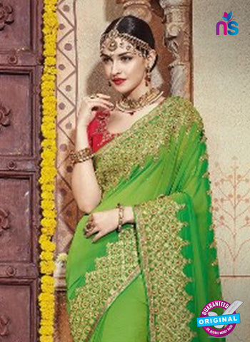 AZ 5008 Green Georgette Wedding Saree