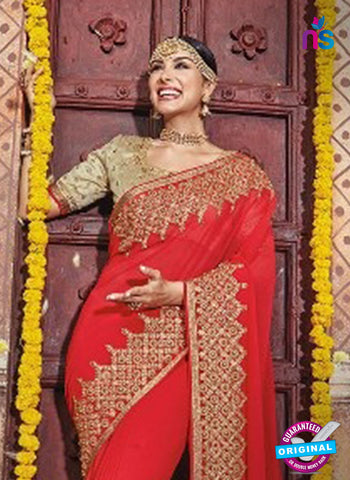 AZ 5009 Red Georgette Wedding Saree