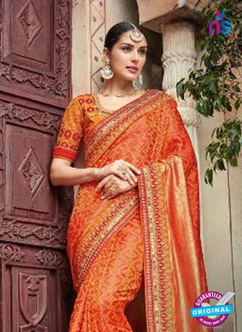 AZ 5011 Orange Georgette Wedding Saree