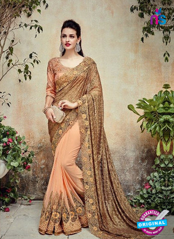AZ 5012 Peach Georgette Wedding Saree