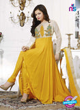 NS11008 Beige and Yellow Designer Georgette Anarkali Suit