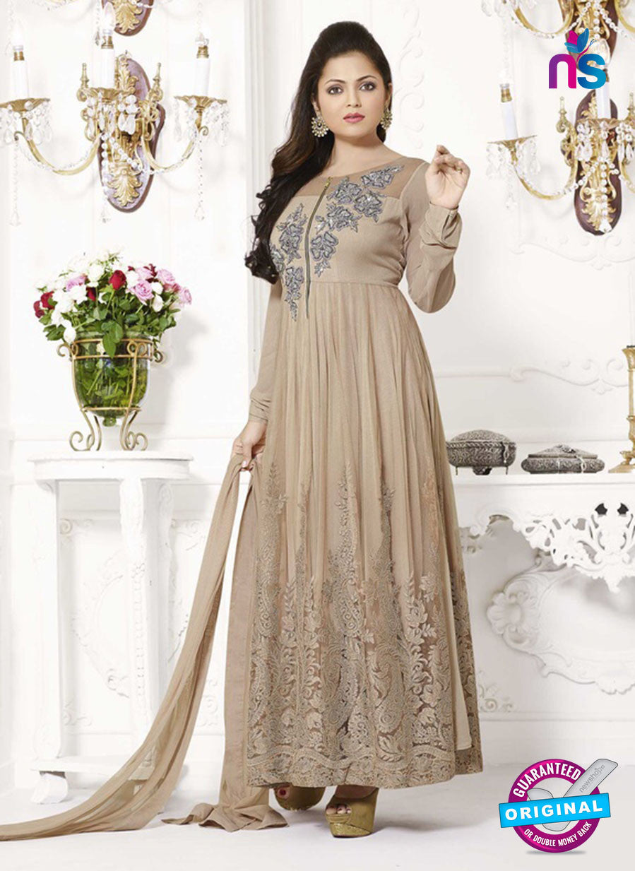 NS11011 Brown and Silver Designer Georgette Anarkali Suit