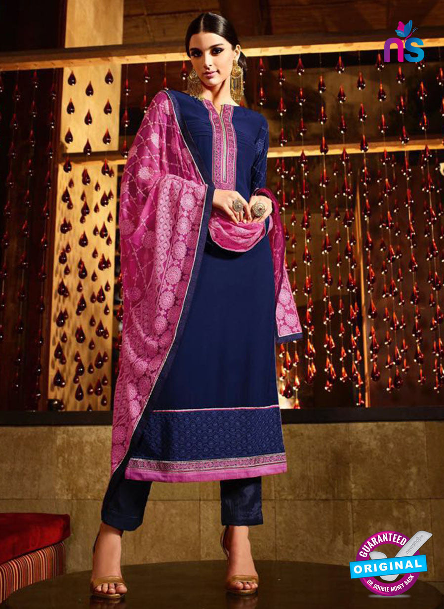 Karma 7202 Blue and Purple Georgette Party Wear Suit
