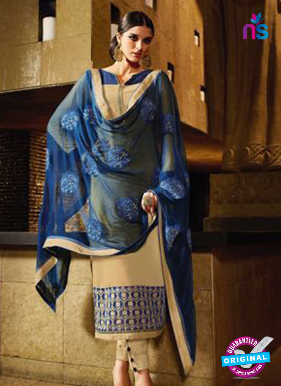 Karma 7203 Beige And Blue Georgette Party Wear Suit