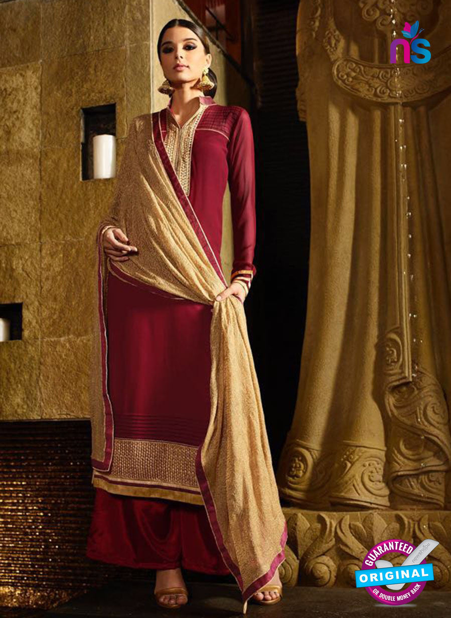 Karma 7205 Maroon and Beige Georgette Party Wear Suit