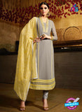 Karma 7206 Grey And Yellow Georgette Party Wear Suit