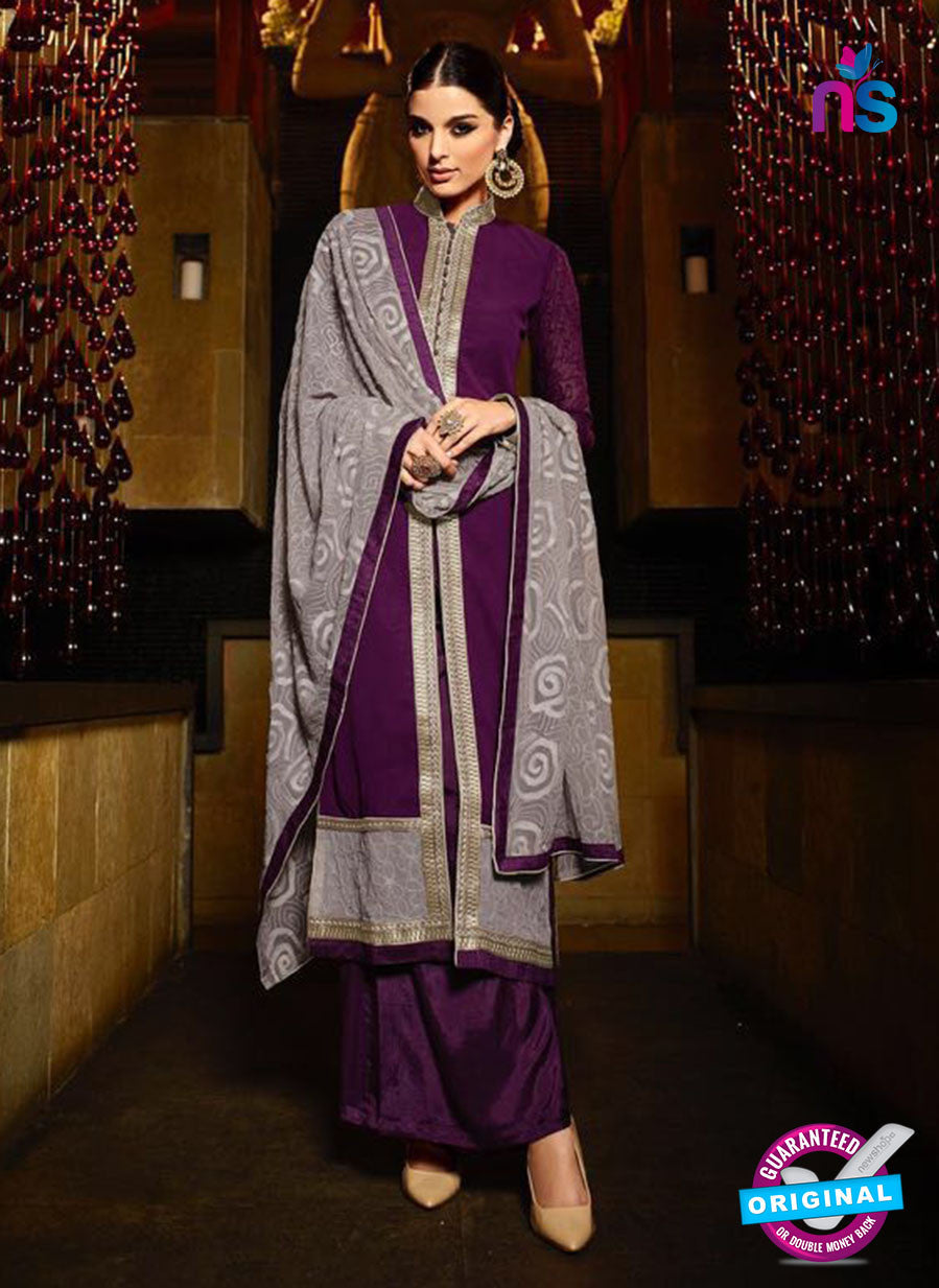 Karma 7207 Grey and Purple Georgette Party Wear Suit