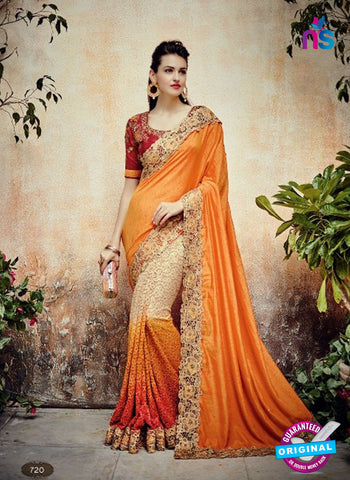 AZ 5013 Orange Georgette Wedding Saree