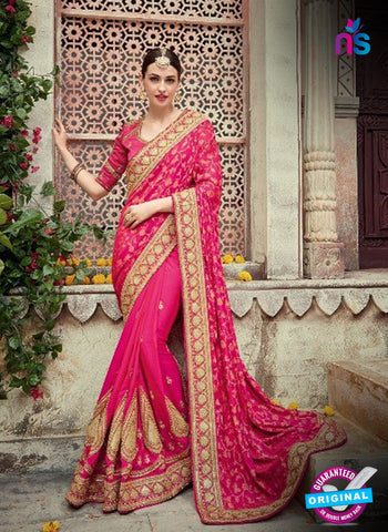 AZ 5015 Pink Georgette Wedding Saree
