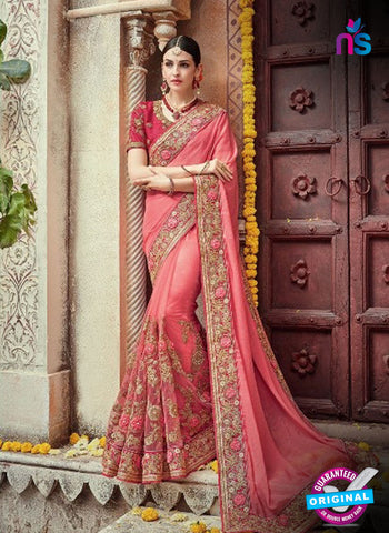 saravika 723 pink georgette wedding saree