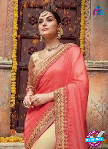 Saravika 724 Beige Net Wedding Saree
