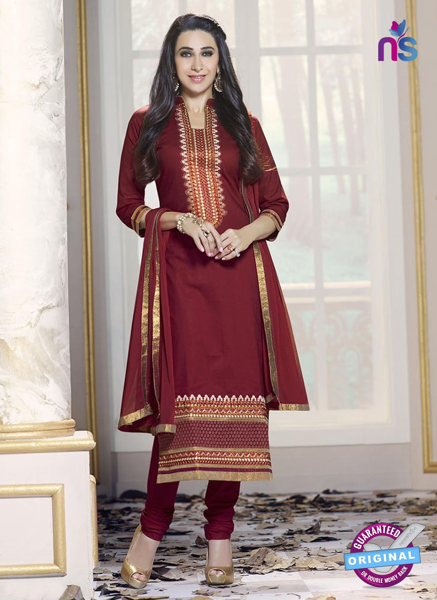 SC 13769 Maroon Cotton Fancy Exclusive Function Wear Long Straight Suit