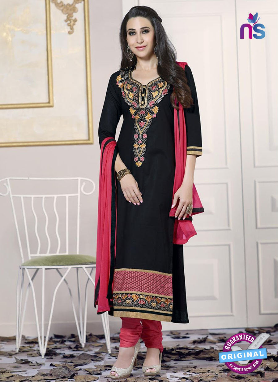 SC 13774 Black and Pink Cotton Fancy Exclusive Function Wear Long Straight Suit