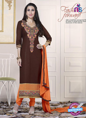 SC 13772 Brown Cotton Fancy Exclusive Function Wear Long Straight Suit