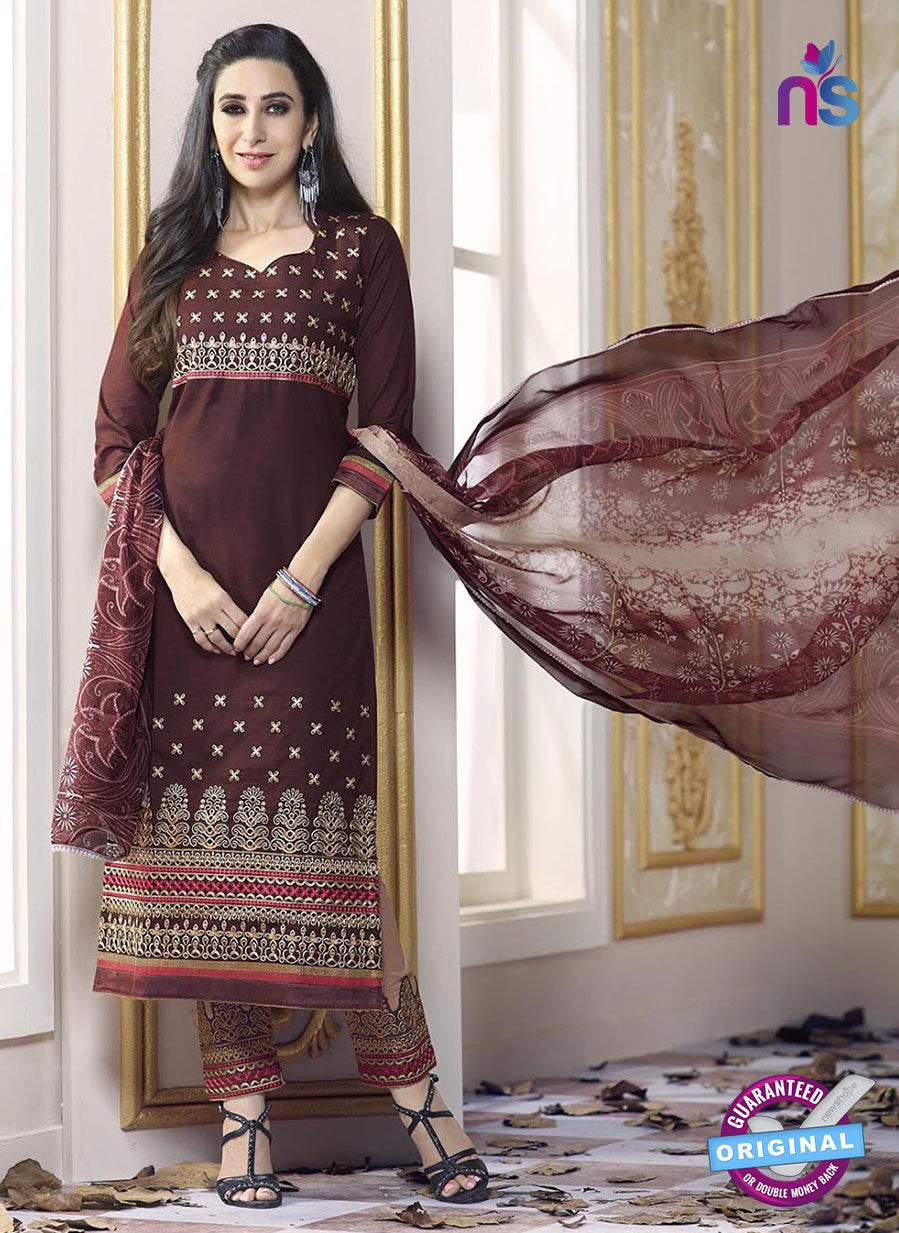 SC 13771 Brown Cotton Fancy Exclusive Function Wear Long Straight Suit