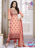 SC 13770 Peach Cotton Fancy Exclusive Function Wear Long Straight Suit Dress Material