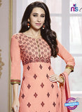 SC 13770 Peach Cotton Fancy Exclusive Function Wear Long Straight Suit Dress Material Online