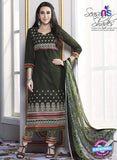 SC 13768 Green Cotton Fancy Exclusive Function Wear Long Straight Suit
