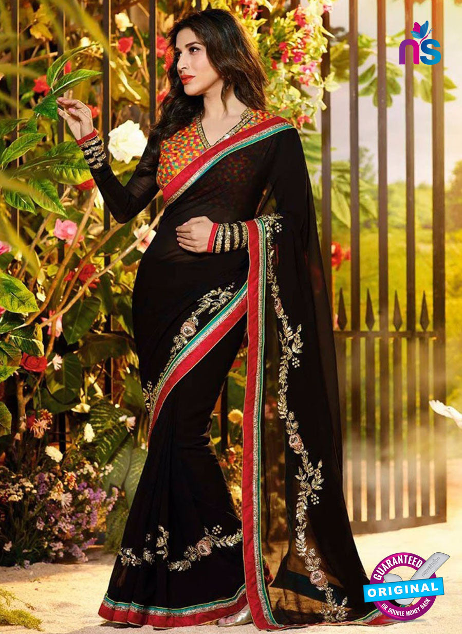 SC 12333 Multicolor and Black Wedding Wear Georgette Saree