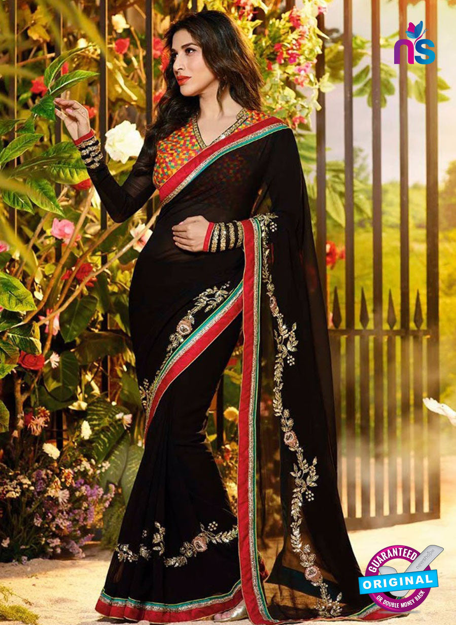 NS10065 Multicolor and Black Wedding Wear Georgette Saree