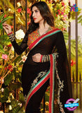 SC 12333 Black Wedding Wear Georgette Saree