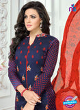 SC 13357 Blue and Orange Chanderi Cotton Designer Long Straight Suit