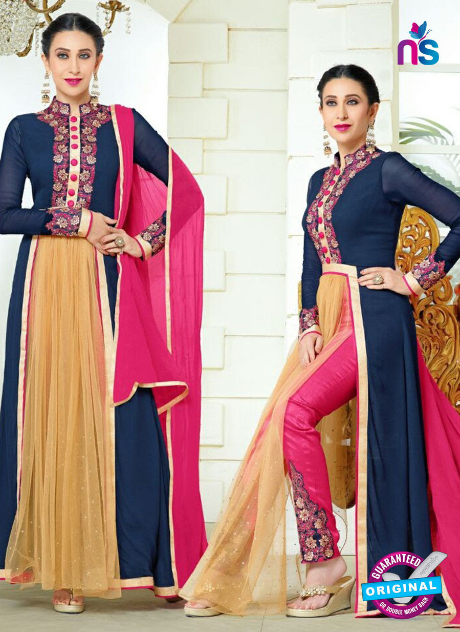 NS10336 Blue, Pink and Beige Party Wear Faux Georgette Desiger Suit