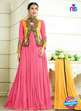 NS10338 Yellow and Pink Party Wear Faux Georgette Desiger Gawn