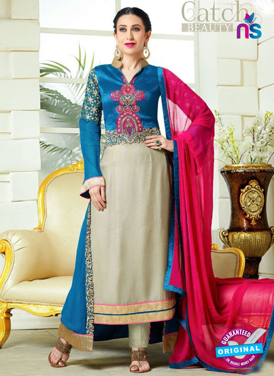 NS10339 Blue and Grey Party Wear Faux Georgette Desiger Suit