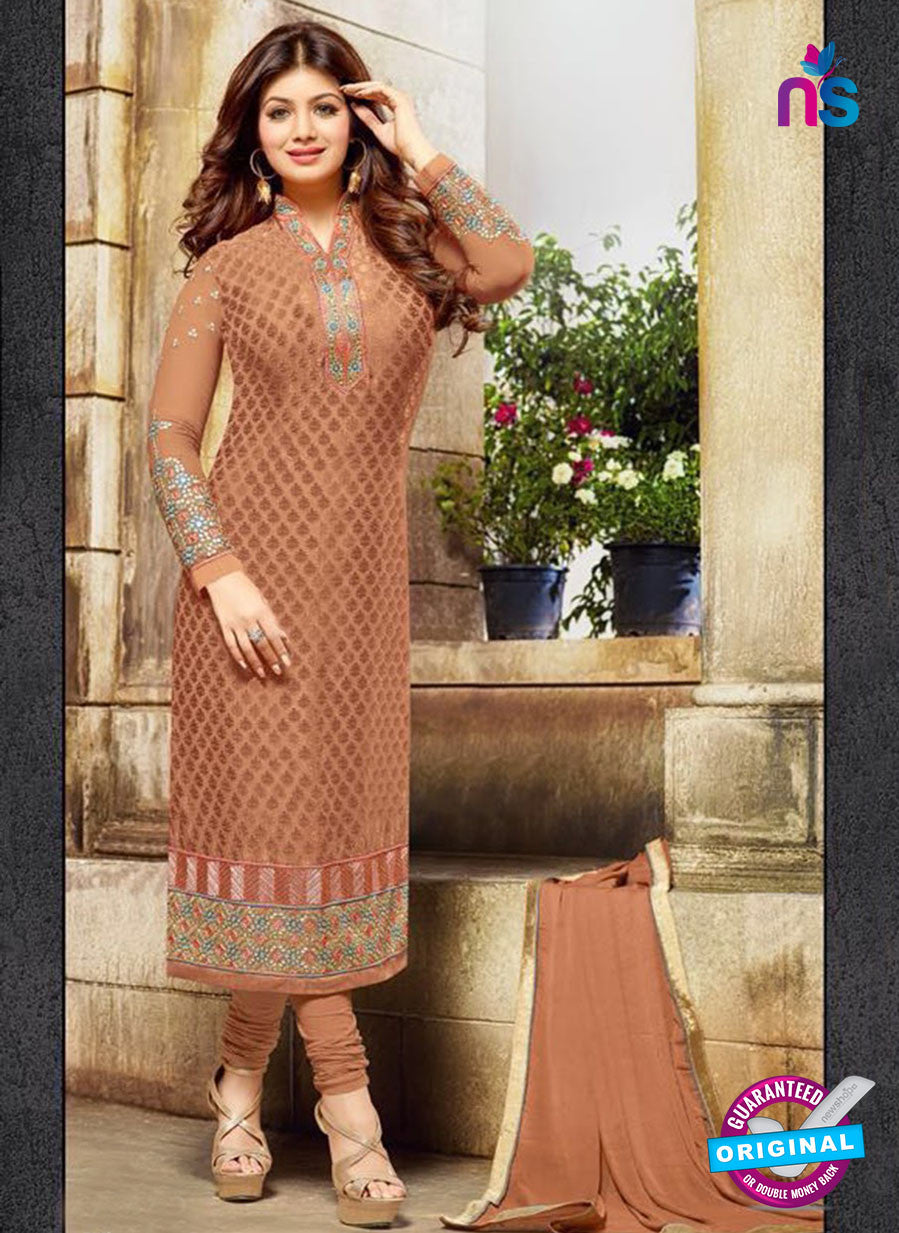 SC 12584 Brown Designer Embroidered Brasso Party Wear Straight Suit