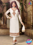 SC 12585 White Designer Embroidered Brasso Party Wear Straight Suit
