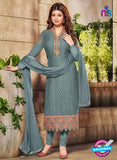 SC 12582 Grey Designer Embroidered Brasso Party Wear Straight Suit