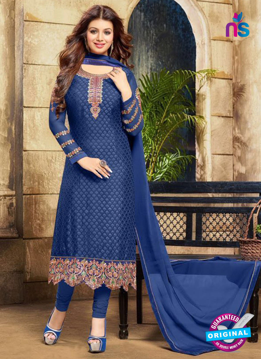 SC 12583 Blue Designer Embroidered Brasso Party Wear Straight Suit