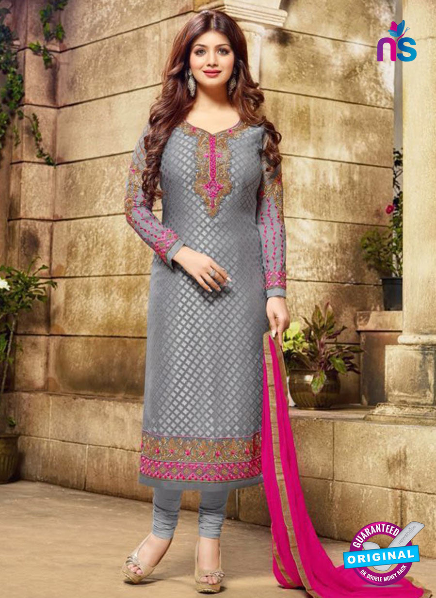 SC 12589 Grey and Pink Designer Embroidered Brasso Party Wear Straight Suit
