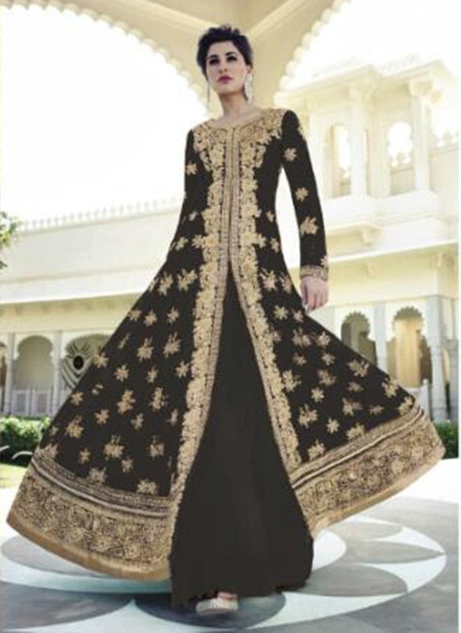 Jinaam Floral 7318 F Black Color Georgette Designer Suit