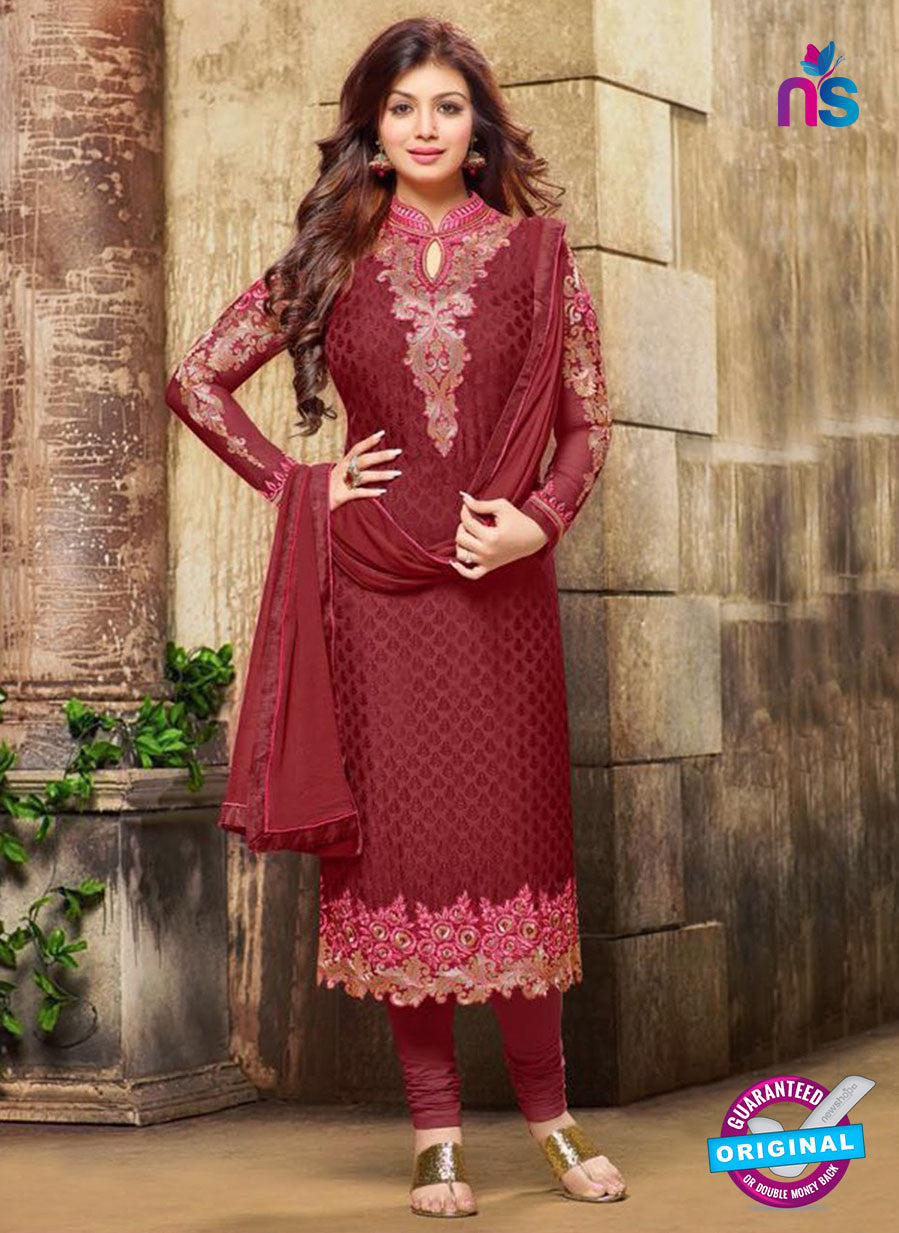 SC 12587 Maroon Designer Embroidered Brasso Party Wear Straight Suit