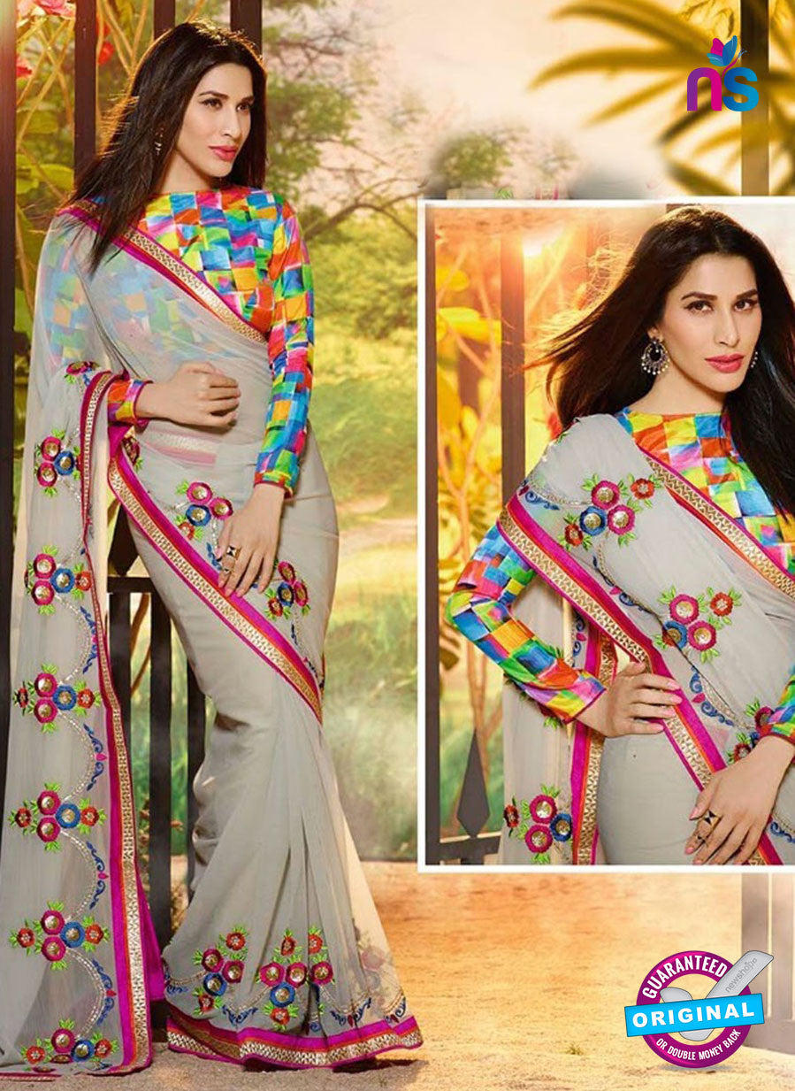 NS10066 Multicolor and Gray Wedding Wear Chiffon Saree