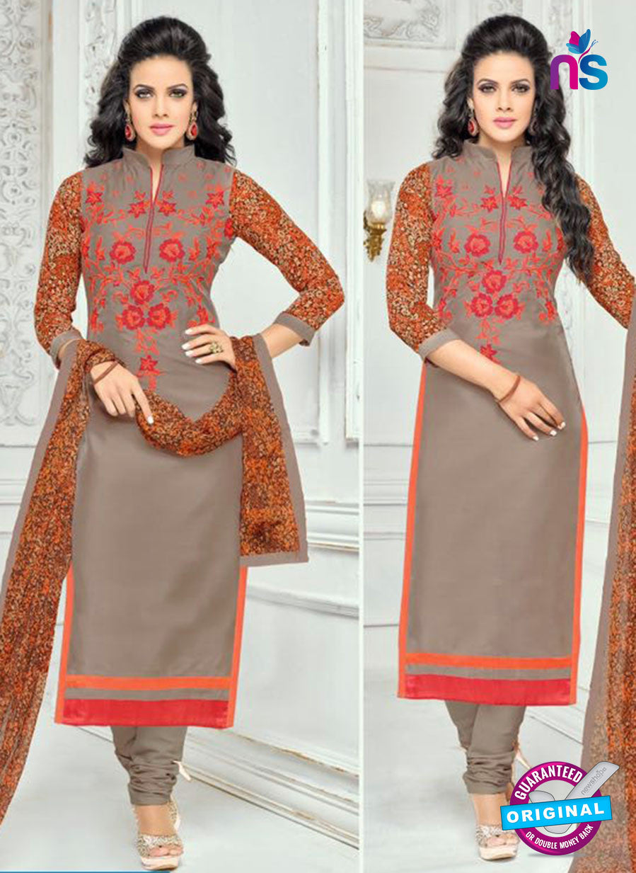 SC 13358 Brown and Gray Chanderi Cotton  Designer Long Straight Suit