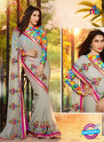 SC 12334 Multicolor and Grey Wedding Wear Chiffon Saree